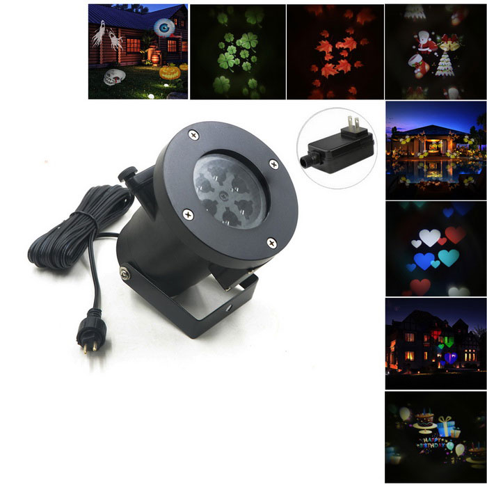 12-in-1 Rotating RGB Light LED Projection Lamp for Christmas - BlackFloodlights<br>Form  ColorBlack (US Plug 12-in-1)Color BINRGBMaterialAluminum alloyQuantity1 DX.PCM.Model.AttributeModel.UnitWaterproof LevelIP44Power4WRated VoltageAC 100-240 DX.PCM.Model.AttributeModel.UnitEmitter TypeLEDActual Lumens100 DX.PCM.Model.AttributeModel.UnitColor Temperature4200KDimmableNoBeam Angle120 DX.PCM.Model.AttributeModel.UnitPacking List1 * Projector light (5m cable)1 * Bracket1 * US power adapter (US Plug)<br>