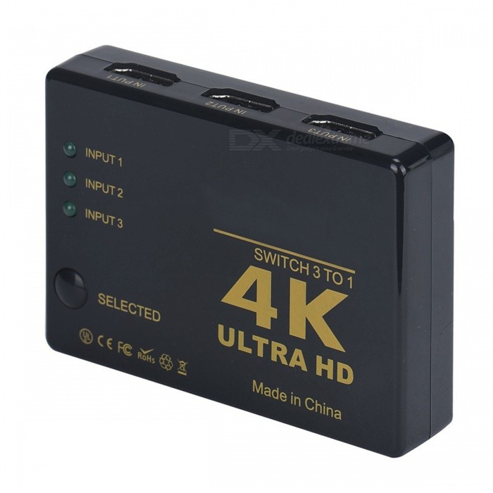 BSTUO ultra HD 1080P 4K * 2K mini 3-Port HDMI switcher - svart
