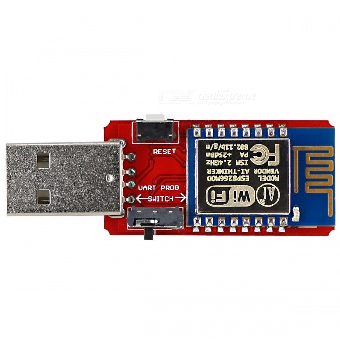 OPEN-SMART USB to ESP8266 ESP-12 Wi-Fi Module w/ Built-in PCB AntennaTransmitters &amp; Receivers Module<br>Form  ColorRed + SilverModelN/AQuantity1 DX.PCM.Model.AttributeModel.UnitMaterialPCB + alloy + plasticFrequency2.4GHzWorking Voltage   DC 4.5~5.5 DX.PCM.Model.AttributeModel.UnitEnglish Manual / SpecYesDownload Link   http://drive.google.com/drive/folders/0B6uNNXJ2z4CxOFhEclF4M1ZJS1k?usp=sharingPacking List1 * Module<br>