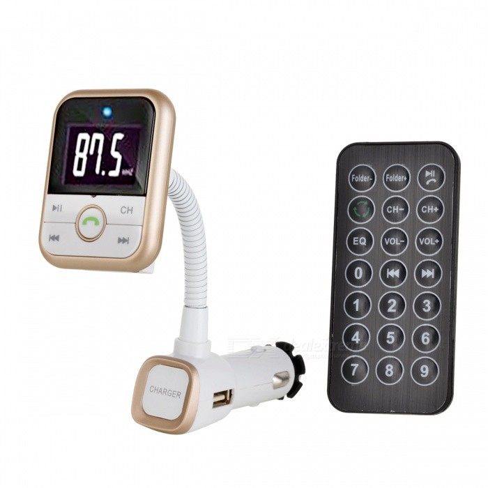 BLCR Bluetooth Handsfree Car Kit w/ FM Transmitter &amp; USB Port - GoldenBluetooth Car Kits<br>Form  ColorWhite + GoldenModelN/AQuantity1 DX.PCM.Model.AttributeModel.UnitMaterialABSScreen Size1.75 DX.PCM.Model.AttributeModel.UnitFunctionHandsfree,MP3 Player,FM Transmitter,Power Off Memory function,A2DPCompatible CellphoneIPHONE,Motorola,Blackberry,LG,Sumsang,Nokia,SonyEricsson,HTCPhonebook Capacity0Voice PromptNoBluetooth VersionBluetooth V4.0Transmit Frequency2.4 DX.PCM.Model.AttributeModel.UnitTransmit Distance&gt;10 DX.PCM.Model.AttributeModel.UnitMIC Effective Distance0~2 DX.PCM.Model.AttributeModel.UnitFM Frequency Range87.5-108.0MHzFM Transmit Distance5 DX.PCM.Model.AttributeModel.UnitFrequency Response20Hz~20KHzSNR&gt;80dBTHD0.1%Battery Capacity0 DX.PCM.Model.AttributeModel.UnitCharging Voltage0 DX.PCM.Model.AttributeModel.UnitTalk Time0 DX.PCM.Model.AttributeModel.UnitStandby Time0 DX.PCM.Model.AttributeModel.UnitCharging Time0 DX.PCM.Model.AttributeModel.UnitInterface/PortUSB 2.0,SD card slot,3.5mmExpansion Card  Capacity (Max.)32GBPacking List1 * Bluetooth FM Transmitter1 * Remote control 1 * 3.5mm Audio Cable1 * English manual<br>