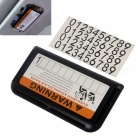 ZIQIAO Temporary Car Parking Plate / Phone Number Card Holder - Black