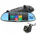 "Junsun CM84 7"" 3G GPS Rearview Mirror Car Dual Camera DVR (Russia Map)"