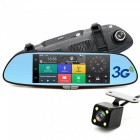 "Junsun CM84 7"" 3G GPS Rearview Mirror Car Dual Camera DVR (Europe Map)"