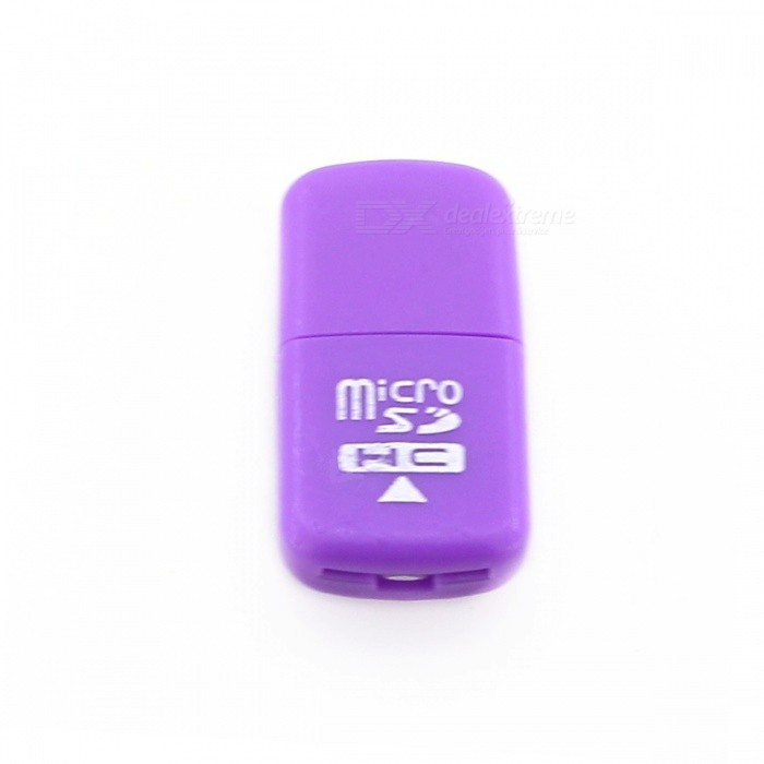 High-Speed USB 2.0 Micro SD SDHC TF Card Reader - PurpleCard Readers<br>Form  ColorPurpleQuantity1 DX.PCM.Model.AttributeModel.UnitShade Of ColorPurpleMaterialABSInterfaceUSB 2.0Supports Card TypeSD,MicroSD (TF),TFMax. Memory Supported32GSlot Number1Support card quantity simultaneously1Transmission Rate480 DX.PCM.Model.AttributeModel.UnitIndicator LightNoSupports SystemWin xp,Win 2000,Win 2008,Win vista,Win7 32,Win7 64,Win8 32,Win8 64,MAC OS X,IOSPacking List1 * Card reader<br>