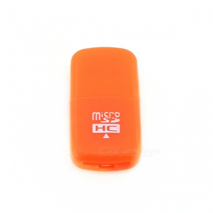 High-Speed USB 2.0 Micro SD SDHC TF Card Reader - OrangeCard Readers<br>Form  ColorOrangeQuantity1 DX.PCM.Model.AttributeModel.UnitShade Of ColorOrangeMaterialABSInterfaceUSB 2.0Supports Card TypeSD,MicroSD (TF),TFMax. Memory Supported32GSlot Number1Support card quantity simultaneously1Transmission Rate480 DX.PCM.Model.AttributeModel.UnitIndicator LightNoSupports SystemWin xp,Win 2000,Win 2008,Win vista,Win7 32,Win7 64,Win8 32,Win8 64,MAC OS X,IOSPacking List1 * Card reader<br>