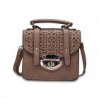 F005-3 Women's Hollow-Out PU + Dacron Shoulder Bag Hand Bag - Brown