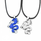 Fashion Delicate Lovers Necklace - Blue + Silver + Black