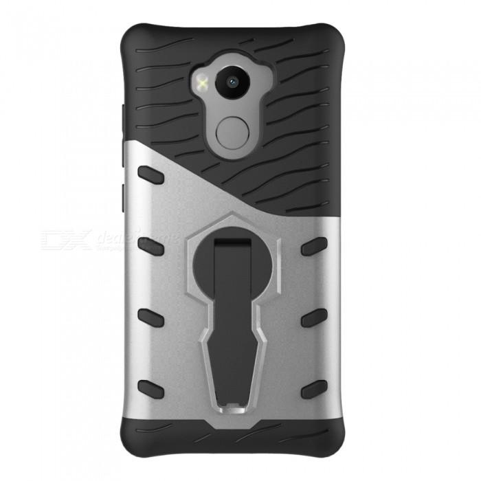 Protective Back Case w/ Holder for Xiaomi Redmi 4 - Black + Silver