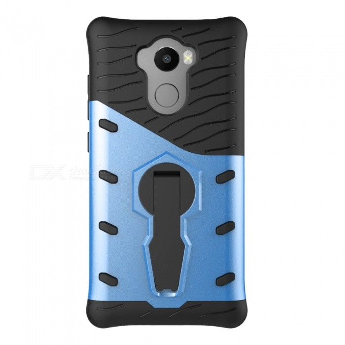 Protective Back Case w/ Holder for Xiaomi Redmi 4 - Black + BlueTPU Cases<br>Form ColorBlue + BlackModelN/AMaterialOthers,TPU + PCQuantity1 DX.PCM.Model.AttributeModel.UnitShade Of ColorBlueCompatible Modelsxiaomi redmi 4Packing List1 * Case<br>