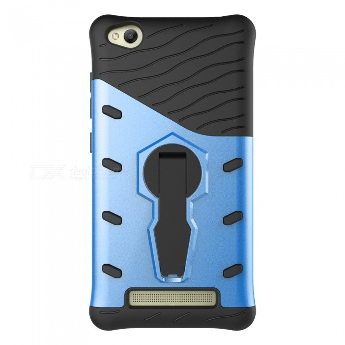 Protective Back Case w/ Holder for Xiaomi Redmi 4A - Black + BlueSilicone Case<br>Form  ColorBlue + BlackModelN/AMaterialTPU + PCQuantity1 DX.PCM.Model.AttributeModel.UnitShade Of ColorBlueCompatible ModelsXiaomi Redmi 4AFeaturesShock-proof,Holder functionPacking List1 * Case<br>