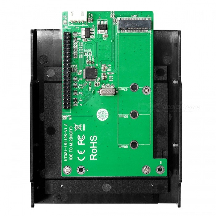 MAIWO KT021B IDE to M.2 (NGFF) SSD Adapter CardForm  ColorGreenModelKT021BQuantity1 DX.PCM.Model.AttributeModel.UnitMaterialABS + Aluminum alloySupports SystemWin xp,Win 2000,Win 2008,Win vista,Win7 32,Win7 64,Win8 32,Win8 64,MAC OS X,LinuxPacking List1 * Adapter card1 * SATA line1 * Screwdriver<br>
