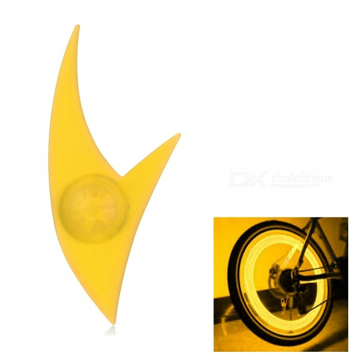 Outdoor Silicone 3-Mode Bicycle Cycling Spoke Wheel Light - YellowBike Light<br>Form  ColorYellowQuantity1 DX.PCM.Model.AttributeModel.UnitMaterialABS + LEDColor BINOrangeNumber of Emitters1Input Voltage3 DX.PCM.Model.AttributeModel.UnitBatteryCR2032/1Battery included or notYesNumber of Modes3Mode ArrangementHi,Slow Strobe,Fast StrobeSwitch TypeClicky SwitchSwitch LocationHeadApplicationWheelPacking List1 * Bike wheel light<br>