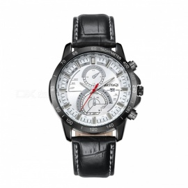 CAGARNY Casual Men Quartz Watch w/ Leather Strap -  Black + Gray