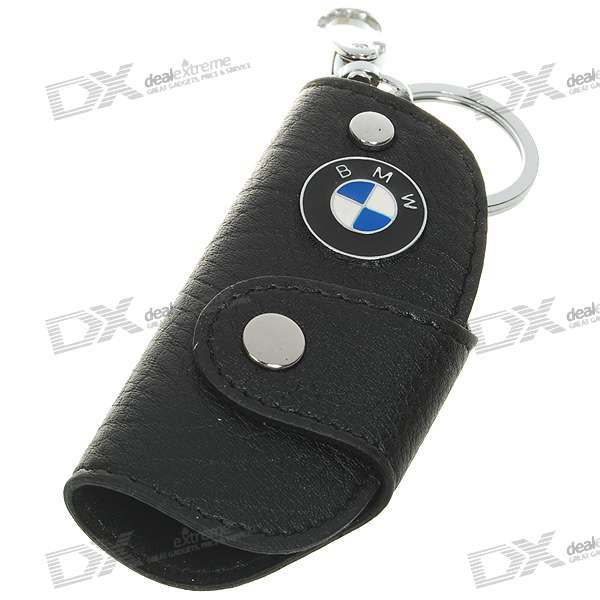 Car Mark Style Stainless Steel + PU Leather Purses Keychain - BMW (Black)