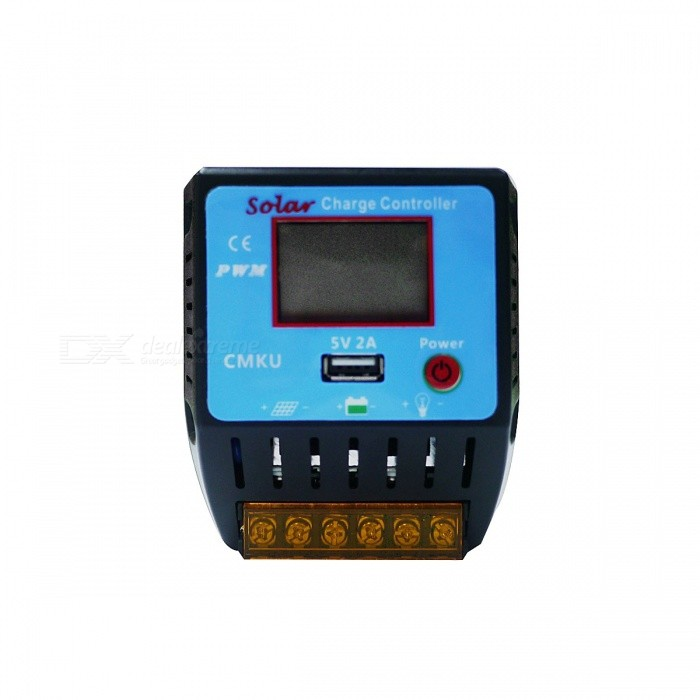 UEIUA CMKU-2410 24V 10A PWM Solar Charge Controller with LCD DisplaySolar Powered Gadgets<br>Form  ColorBlack + BlueModelCMKU-2410MaterialPVCQuantity1 DX.PCM.Model.AttributeModel.UnitPower120 / 240 DX.PCM.Model.AttributeModel.UnitWorking Voltage   12V 24V DX.PCM.Model.AttributeModel.UnitWorking Current10 DX.PCM.Model.AttributeModel.UnitPacking List1 * Solar Controller1 * Instruction<br>