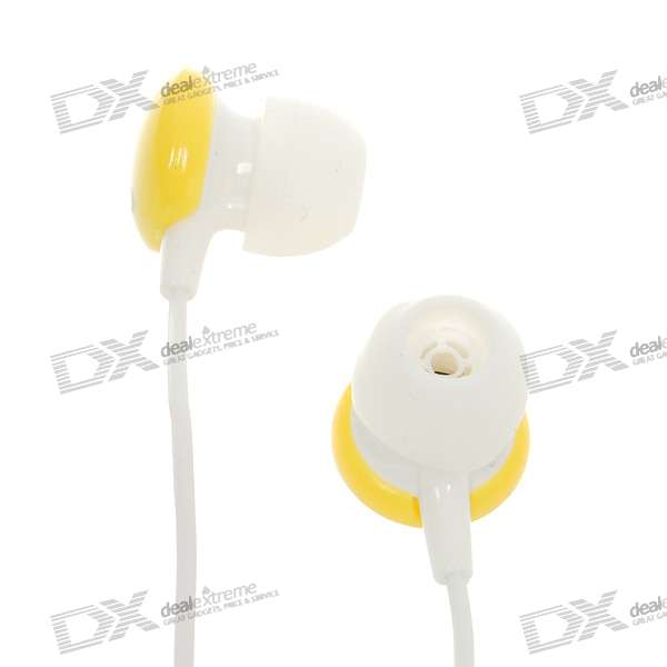 Stylish Noise Isolation In-Ear Earphone - White + Yellow (3.5mm Jack/1.1M Cable)