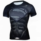 Outdoor Multi-functional Superman Sports Men's T-shirt - Black (XXL)