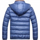 Men Slim & Thicken Jacket Coat w/ Removable Hooded - Blue (Size: M)