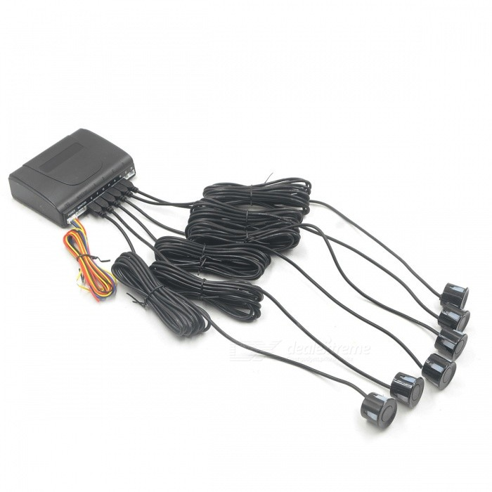 "0.6"" Wired 6 Parking Sensors Car Reversing Radar System - Black"