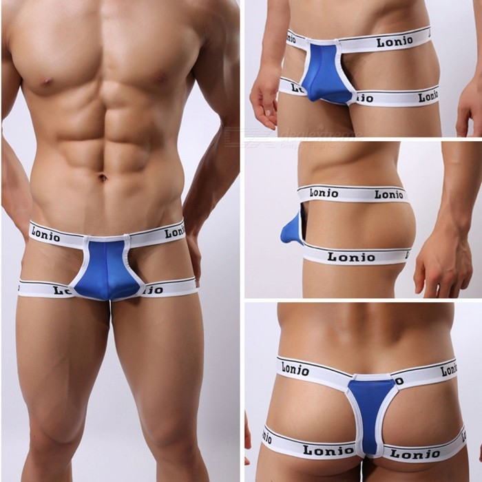 Sexy Low-Waist Mini Men's Double-T Ice Silk Underwear -White +Blue (L)