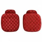 Universal Plush Car Single Front Row Seat Cushions - Red (2PCS)