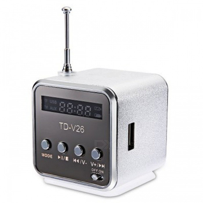TD - V26 Mini Portable LCD Sound Speaker w/ FM Radio - SilverMedia Player Speakers<br>Form ColorSilverModelTD - V26MaterialAluminum alloyQuantity1 DX.PCM.Model.AttributeModel.UnitShade Of ColorSilverTotal Power3 DX.PCM.Model.AttributeModel.UnitSNR80dBSensitivity15dB +/- 3dBFrequency Response20HZ-20KHZImpedance32 DX.PCM.Model.AttributeModel.UnitInterface3.5mm,USB 2.0Remote Control TypewiredSupports Card TypeMicroSD (TF)Max Extended Capacity32GBRadio TunerYesFM Frequency87.5~108MHzBuilt-in Battery Capacity 550 DX.PCM.Model.AttributeModel.UnitPacking List1 * Mini speaker1 * Power cable (52cm)1 * Audio cable (48cm)<br>