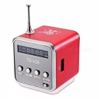 TD - V26 Mini Portable LCD Sound Speaker w/ FM Radio - Red
