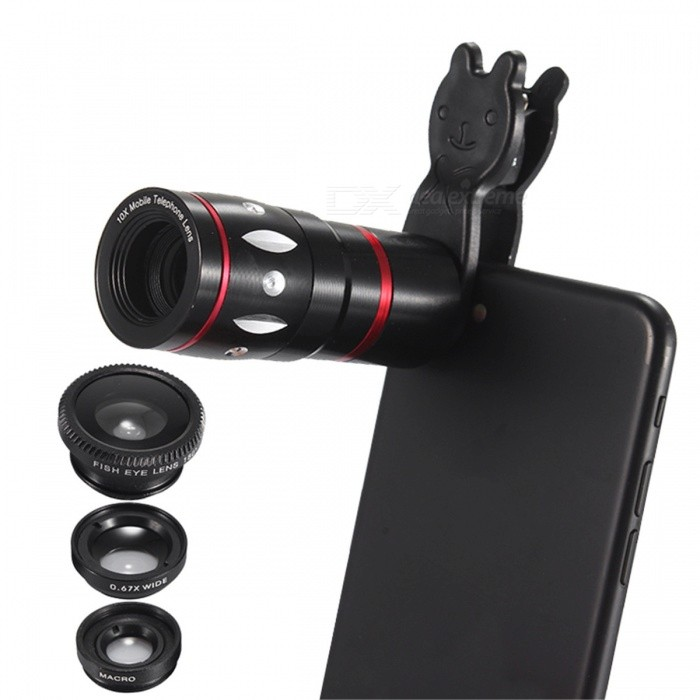 10x Zoom Telescope + Fish Eye + Wide angle + Macro Lens for Mobile CAMLens &amp; Microscopes<br>Form ColorBlackQuantity1 DX.PCM.Model.AttributeModel.UnitMaterialABSShade Of ColorBlackCompatible ModelsUniversalLens EffectsWide angle,Fish eye,Macro,TelescopeMagnification10XInstallation TypeSpring ClampPacking List1 * 10x Zoom telescope1 * Wide-angle lens1 * Fisheye lens1 * Rabbit clip4 * Protection covers1 * Bag<br>