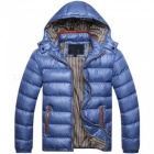 Men Slim & Thicken Jacket Coat w/ Removable Hooded - Blue (Size: XL)