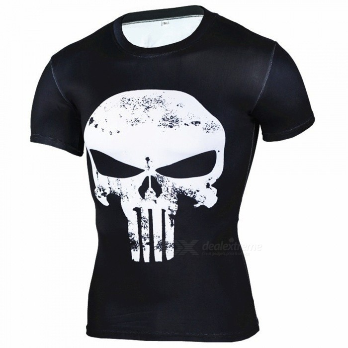 Outdoor Punisher Short-sleeved Mens T-shirt - White + BlackShirt<br>Form  ColorWhite + BlackSizeXXLModelA-2493Quantity1 pieceMaterialPolyesterShade Of ColorWhiteSeasonsSpring and SummerGenderMensShoulder Width47 cmChest Girth110 cmSleeve Length27 cmTotal Length70 cmBest UseCross-training,Yoga,Running,Climbing,Rock Climbing,Family &amp; car camping,Backpacking,Camping,Mountaineering,Travel,Cycling,Triathlon,Cross-trainingSuitable forAdultsPacking List1 * Mens T-shirt<br>