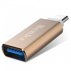 Benks Metal Type-C to USB 3.0 Adapter for Data Transfer & Charge- Gold