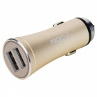 ROCK H1 2.4A Aluminum Alloy USB Car Charger Auto Adapter - Golden