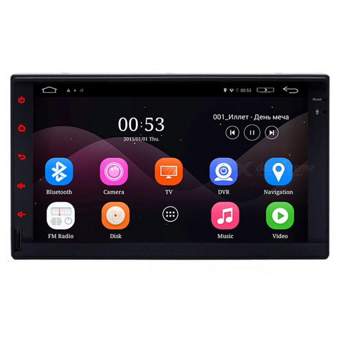 FUNROVER Android 5.1 Car Player for Universal 2 DinCar DVD Players<br>Form  ColorBlackModelLU001Quantity1 DX.PCM.Model.AttributeModel.UnitMaterialABS + MetalStyle2 Din In-DashFunctionBuilt-in speaker,GPS,Dual Zone,Subwoofer Output,Radio,DVB-T,ISDB-T,Remote Control,TV,AV-IN,Steering Wheel ControlCompatible MakeBMW,Honda,Toyota,VW,Benz,Hyundai,Buick,Audi,Ford,Volvo,Chevrolet,UniversalCompatible Car Modelall cars universal 2 dinCompatible Year1998,1999,2000,2001,2002,2003,2004,2005,2006,2007,2008,2009,2010,2011,2012,2013Screen Size7.0 inchesScreen Resolution1024*600Touch Screen TypeYesDetachable PanelNoBrightness ControlYesMenu LanguageEnglish,French,German,Italian,Spanish,Portuguese,Russian,Vietnamese,Polish,Greek,Danish,Norwegian,Dutch,Arabic,Turkish,Japanese,Bahasa Indonesia,Korean,Thai,Maltese,Hungarian,Latin,Persian,Malay,Slovak,Czech,Greek,Romanian,Swedish,Finnish,Chinese Simplified,Chinese Traditional,Bulgarian,Norwegian,HebrewCPU ProcessorContex 1.6 GHzSupport MapIGO,Route66,TOMTOM,Garmin,Sygic,CarelandMain FrequencyOthers,1.6 DX.PCM.Model.AttributeModel.UnitStore CapacityOthers,16 DX.PCM.Model.AttributeModel.UnitMemory Card SlotStandard TF CardVoice Guidance CruiseYesGPS Dual ZoneNoOperating SystemOthers,Android 5.1Audio FormatsMP3,WMA,APE,FLAC,OGG,AC3,DTS,AACVideo FormatsRM,RMVB,AVI,DIVX,MKV,MOV,HDMOV,MP4,M4V,PMP,AVC,FLV,VOB,MPG,DAT,MPEG,H.264,MPEG1,MPEG2,MPEG4,WMV,TPPicture FormatsJPEG,BMP,PNG,GIF,TIFF,jps(3D),mpo(3D)Station Preset Qty.60Support RDSfor European countriesRadio Response BandwidthAM: 520KHz-1700KHz,FM: 87MHz-110MHzRDSYesRadio TunerAM,FMBuilt-in MicrophoneYesBluetooth FunctionReceived Call,Dialled Call,Missed CallBluetooth VersionBluetooth V3.0Amplifier Peak Power4*45 DX.PCM.Model.AttributeModel.UnitAudio ModeNatural,Rock,Jazz,Classical,Live,Dancing,PopularInterface PortRCA USB SDAudio Input2 channelsAudio  Output4 channelsRearview Camera InputYesExternal Memory Max. Support32 DX.PCM.Model.AttributeModel.UnitVideo Input2 channelsVideo Output1 channelWorking Voltage   12 DX.PCM.Model.AttributeModel.UnitWorking Temperature-20~70 DX.PCM.Model.AttributeModel.UnitStorage Temperature-40~80CCertificationCEPacking List1 * Car player2 * Power cable (20cm)2 * RCA cable (15cm)1 * GPS antenna (300cm)1 * OEM USB cable (100cm)1 * Backup camera video cable (15cm)1 * Wi-Fi antenna (5cm)1 * 4G / DVR USB cable (100cm)1 * 4 Pin RCA cable (2cm)<br>