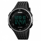SKMEI 1219 PC + PU Band Digital Men Watch for Outdoor Sport - Silver