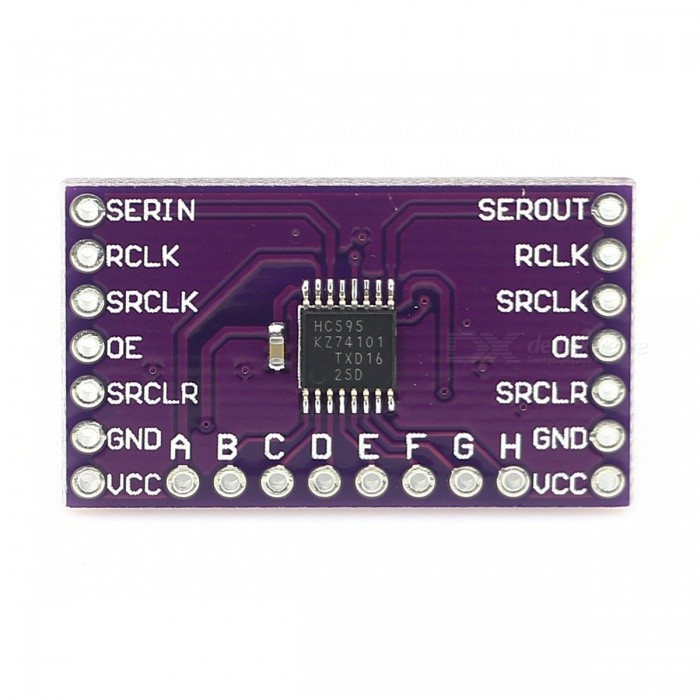 74HC595 8-Bit Breakout Shift Register Module for ArduinoOther Accessories<br>Form  ColorPurpleModel-Quantity1 DX.PCM.Model.AttributeModel.UnitMaterialRF4English Manual / SpecNoDownload Link   http://cdn.sparkfun.com/datasheets/BreakoutBoards/MM74HC595.pdfPacking List1 * Module<br>