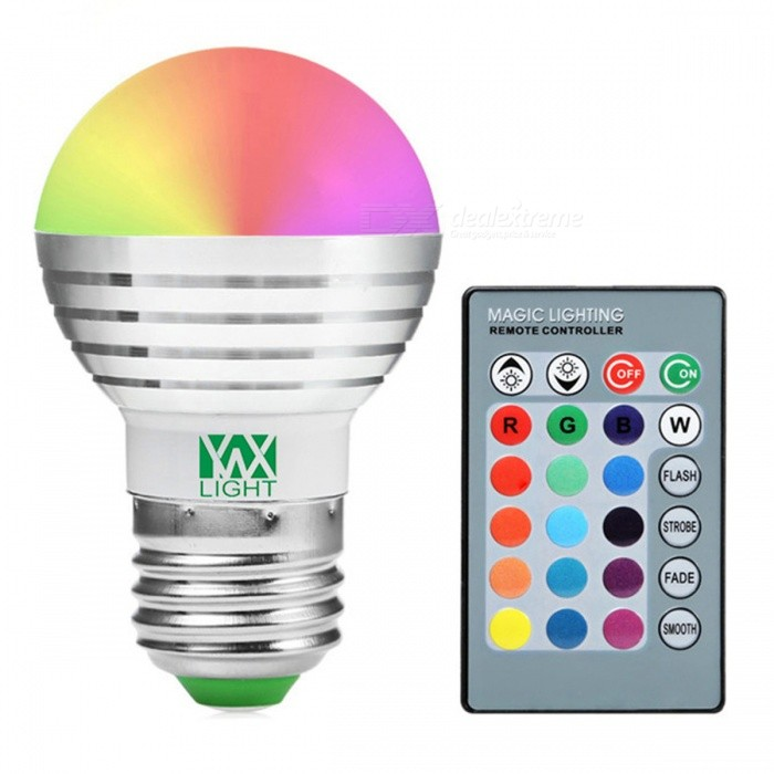 YWXLight E27 5W RGB Lamp LED Bulbs (2 PCS) w/ IR Remote ControllerColor BINMulti-colorMaterialAluminumForm  ColorWhite + Orange + Multi-ColoredQuantity1 DX.PCM.Model.AttributeModel.UnitPower5WRated VoltageAC 85-265 DX.PCM.Model.AttributeModel.UnitConnector TypeE27Emitter TypeCOBTotal Emitters1Theoretical Lumens500 DX.PCM.Model.AttributeModel.UnitActual Lumens300-450 DX.PCM.Model.AttributeModel.UnitColor Temperature12000K,Others,RGBDimmableYesBeam Angle360 DX.PCM.Model.AttributeModel.UnitPacking List2 * YWXLight Bulbs<br>