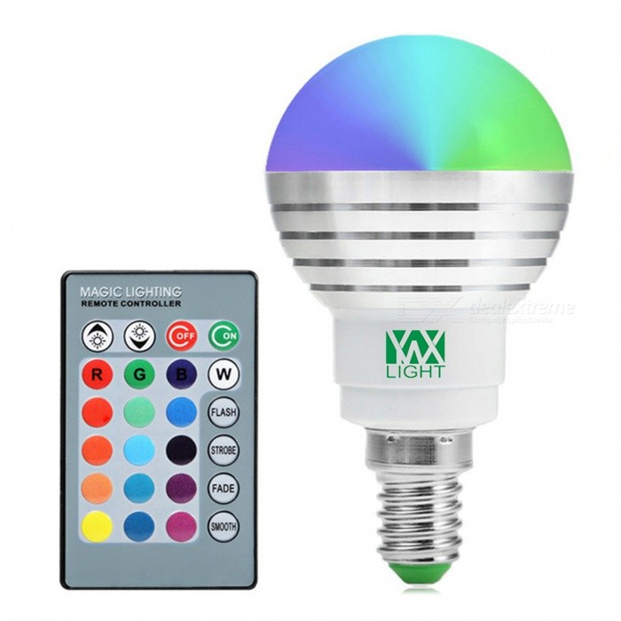 YWXLight E14 5W RGB Lamp LED Bulbs (2 PCS) w/ IR Remote ControllerE14<br>Color BINMulti-colorMaterialPCForm  ColorWhite + Orange + Multi-ColoredQuantity1 DX.PCM.Model.AttributeModel.UnitPower5WRated VoltageAC 85-265 DX.PCM.Model.AttributeModel.UnitConnector TypeE14Emitter TypeCOBTotal Emitters1Theoretical Lumens500 DX.PCM.Model.AttributeModel.UnitActual Lumens300-450 DX.PCM.Model.AttributeModel.UnitColor Temperature12000K,Others,RGBDimmableYesBeam Angle360 DX.PCM.Model.AttributeModel.UnitPacking List2 * YWXLight Bulbs<br>