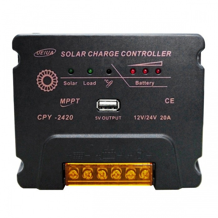 UEIUA CPY MPPT12V / 24V 20A Solar Charge ControllerSolar Powered Gadgets<br>Form  ColorBlackModelCPY-2420MaterialPVCQuantity1 DX.PCM.Model.AttributeModel.UnitPower120/240 DX.PCM.Model.AttributeModel.UnitWorking Voltage   12V 24V DX.PCM.Model.AttributeModel.UnitWorking Current20 DX.PCM.Model.AttributeModel.UnitPacking List1 * Controller1 * Instruction<br>