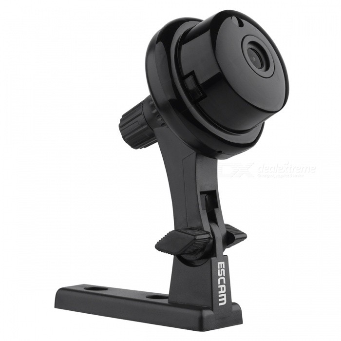 Escam Q6 ONVIF2.4.2 1.0MP Mini Wireless IP Camara  - Black (US Plugs)IP Cameras<br>Form  ColorBlackPower AdapterUS PlugModelQ6MaterialABSQuantity1 DX.PCM.Model.AttributeModel.UnitImage SensorCMOSImage Sensor SizeOthers,1/4Pixels1.0MPLens3.6mmViewing AngleOthers,56.14° DX.PCM.Model.AttributeModel.UnitVideo Compressed FormatH.264Picture Resolution720PFrame Rate25Audio Compression FormatOthers,ADPCMMinimum Illumination0.3 DX.PCM.Model.AttributeModel.UnitNight VisionYesIR-LED Quantity1Night Vision Distance10 DX.PCM.Model.AttributeModel.UnitWireless / WiFi802.11 b / g / nNetwork ProtocolTCP,IP,UDP,SMTP,DHCP,NTP,uPnP,Others,P2P, RTSPSupported SystemsWindows 2000,2003,XP,7Supported BrowserIE 6.0 and above,Google Chrome,FirefoxSIM Card SlotNoOnline Visitor4IP ModeDynamic,StaticMobile Phone PlatformAndroid,iOSFree DDNSYesIR-CUTYesBuilt-in Memory / RAMNoLocal MemoryYESMemory CardTFMax. Memory Supported128GBSupported LanguagesEnglish,Simplified Chinese,Traditional Chinese,Brazilian,Russian,Spanish,Italian,German,FinnishWater-proofNoRate Voltage5VRated Current2 DX.PCM.Model.AttributeModel.UnitIntercom FunctionYesCertificationISO, FCC, CE, RoHSPacking List1 * IP Camera1 * Charger1 * USB Cable1 * Users manual1 * Screw1 * Mounting bracket<br>