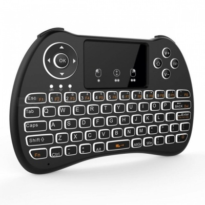 BLCR H9 Mini Wireless 92-Key Keyboard w/ Touchpad, Backlit - Black