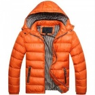 Men Slim & Thicken Jacket Coat w/ Removable Hooded - Orange (Size: XL)