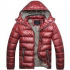 Slim Removable Hooded Men Thicken Jacket Coat - Jujube Red (XL)