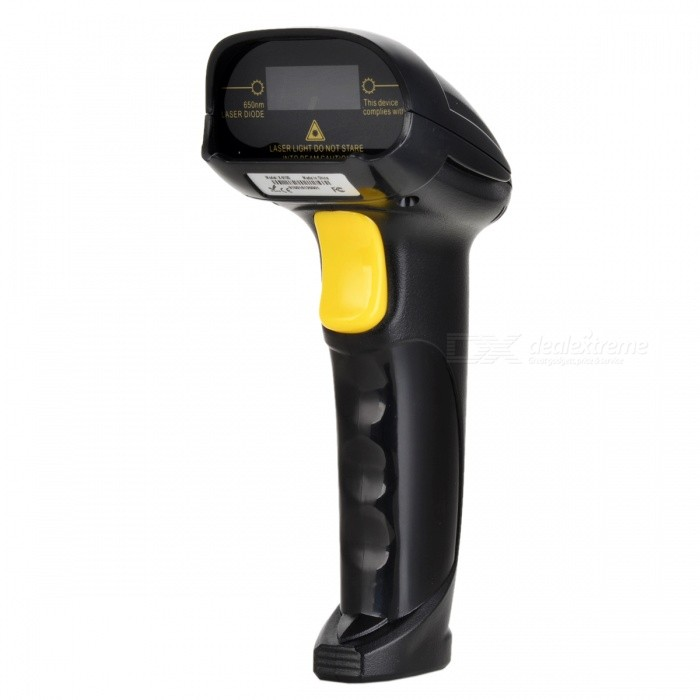 USB 2.0 Wired Barcode Scanner for Standard 1D Bar Codes -Black +Yellow