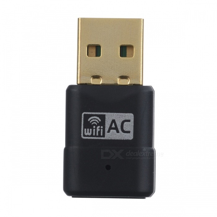 BSTUO 2.4GHz&amp;5GHz Dual Band 802.11b/g/n/a/ac USB Wi-Fi Adapter - BlackNetwork Cards<br>Form  ColorBlackQuantity1 DX.PCM.Model.AttributeModel.UnitMaterialABSShade Of ColorBlackFrequency Range2.4GHz&amp;5GHzInterfaceUSB 2.0Transmission RateOthers,583 DX.PCM.Model.AttributeModel.UnitNetwork ProtocolsIEEE 802.11a,IEEE 802.11n,IEEE 802.11b,IEEE 802.11g,Others,802.11acSecurity64,128-bit WEP,WPA,WPA2-PSK,Others,WFA/WAPI/WPS2.0AntennaBuilt-inSupports SystemWin xp,Win 2000,Win 2008,Win vista,Win7 32,Win7 64,Win8 32,Win8 64,MAC OS X,LinuxForm  ColorBlackPacking List1 * USB network card1 * CD driver1 * English user manual<br>
