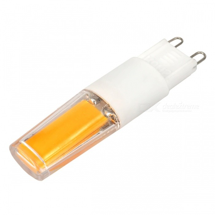 G9 3W COB LED Warm White Light Bulb w/ PC Cover - White + OrangeG9<br>Color BINWarm WhiteMaterialPC + ceramicsForm  ColorWhite + Orange + Multi-ColoredQuantity1 DX.PCM.Model.AttributeModel.UnitPower3WRated VoltageAC 220-240 DX.PCM.Model.AttributeModel.UnitConnector TypeG9Chip BrandCreeEmitter TypeCOBTotal Emitters1Actual Lumens320~350 DX.PCM.Model.AttributeModel.UnitColor Temperature12000K,Others,3500KDimmableNoBeam Angle360 DX.PCM.Model.AttributeModel.UnitPacking List1 * LED lamp<br>