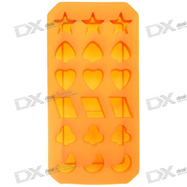 Stylish Non-Toxic Silicone Organic Ice Tray - Orange Hybrid Shapes