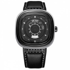 MEGIR 2027 Square Dial Quartz Watch with Calendar Date for Man - Black