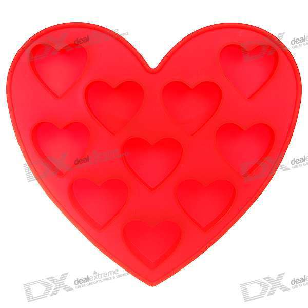 Stylish Non-Toxic Silicone Organic Ice Tray - Red Hearts