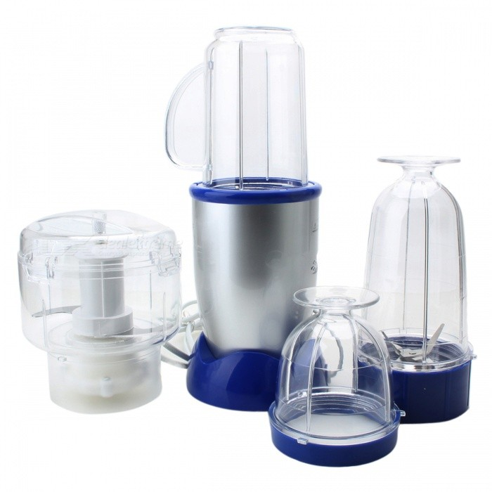 Multi-Function 5-Piece Electric Meat Grinder / Juicer / Food ProcessorForm  ColorBlue + Transparent + Multi-ColoredPower AdapterUS PlugModelQN2166MaterialAluminum alloy + PCQuantity1 DX.PCM.Model.AttributeModel.UnitPower218-220 DX.PCM.Model.AttributeModel.UnitRate Voltage220V 50HzCertification3CPacking List1 * Base1 * Word knife holder1 * Cross cutter holder1 * High cup1 * Low cup 1 * Milkshake cup1 * User Manual<br>