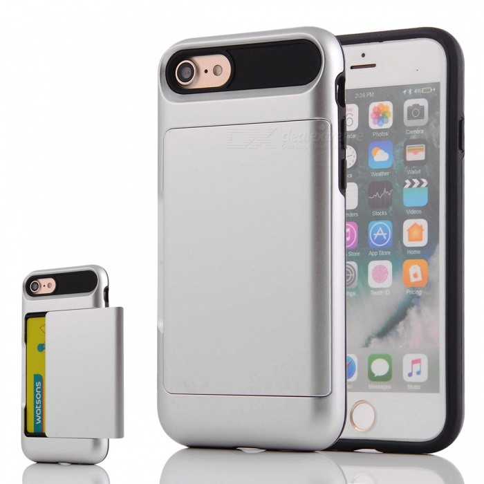 Box Series PC + TPU Back Case w/ Card Slot for IPHONE 7 - Silver